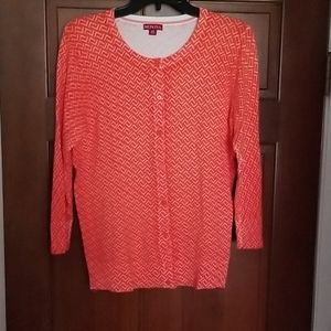 Merona Orange Button 3/4 Sleeve Cardigan Size L